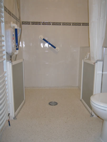Wet rooms built by building contractor simon bailey for Disabled wet room bathroom design